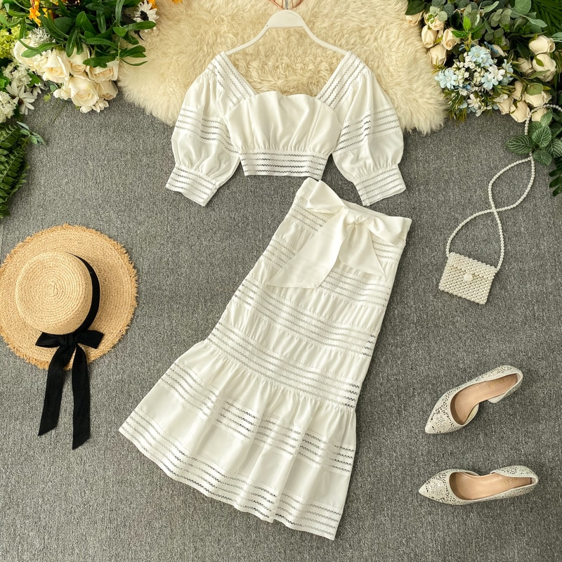 Chic Lace Puff Sleeve Top and High Waist Skirt Set