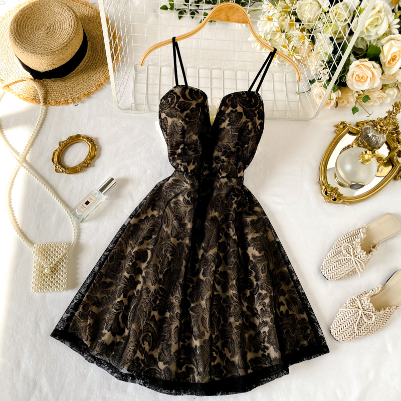 Beautiful Spaghetti Strap Lace Party Dress