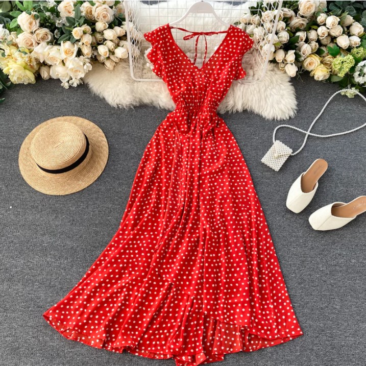 Irregular Hem Ruffled Polka dots Maxi Dress