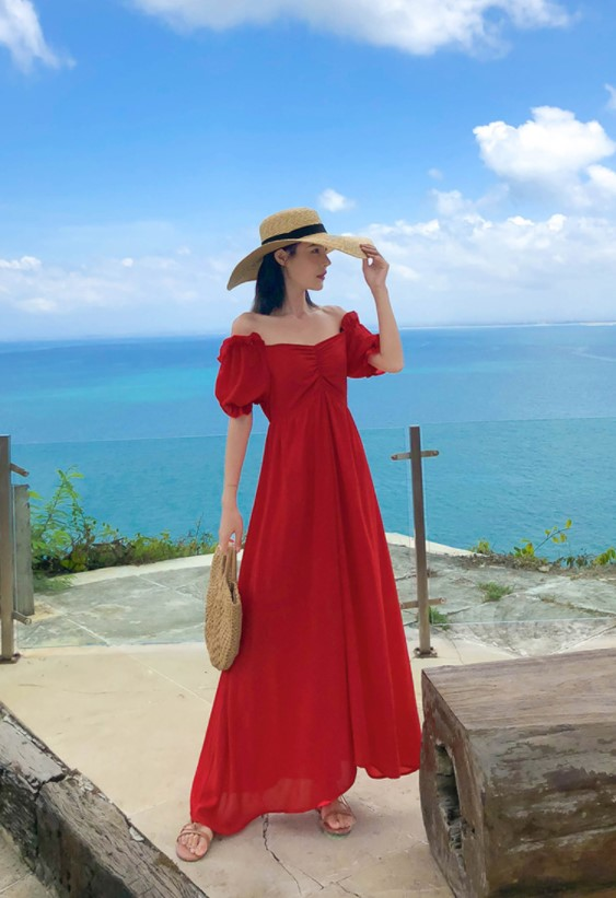 Vintage Women High-waisted Red Maxi Dress