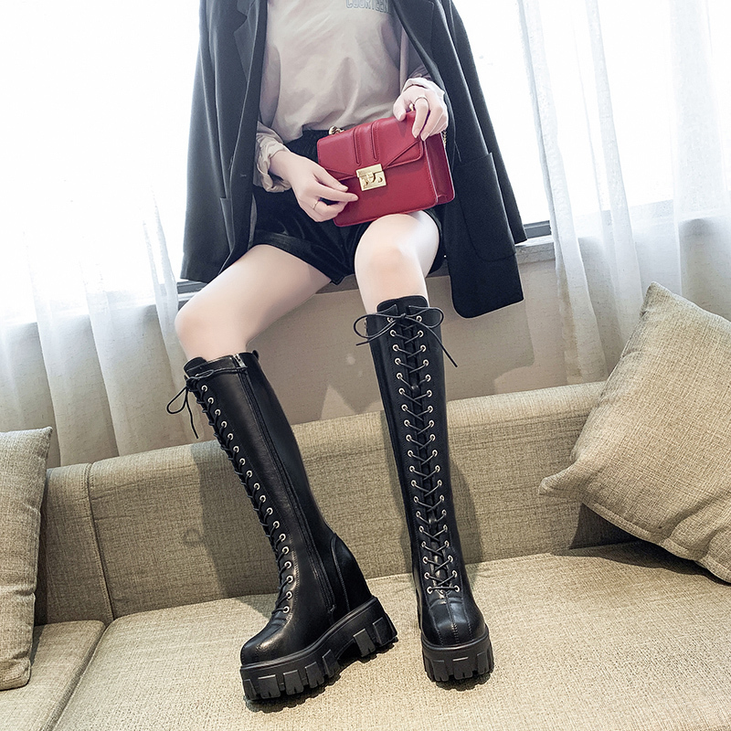 Autumn and Winter PU Leather Knee High Platform Boots