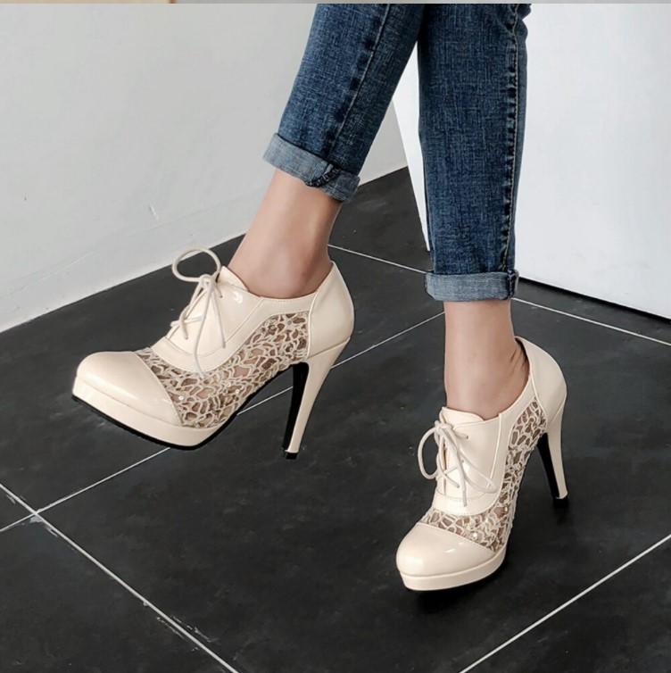 Elegant High Heels Ankle Boots with Beautiful Lace