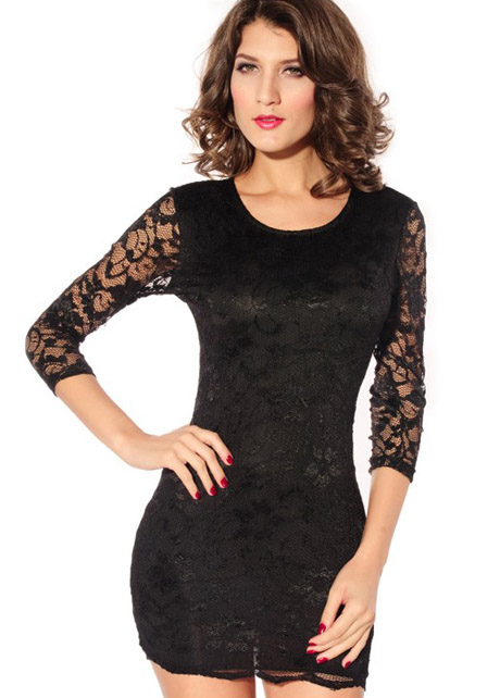 Black fitted dress lace sleeves