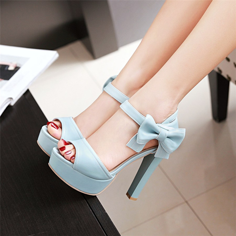 d11cebbb2266 Stylish High Heel Ankle Strap Blue Bow Design Sandals on Luulla