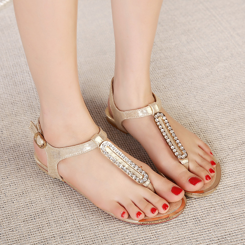 Summer Rhinestone Design Flat Sandals in Metallic Gold