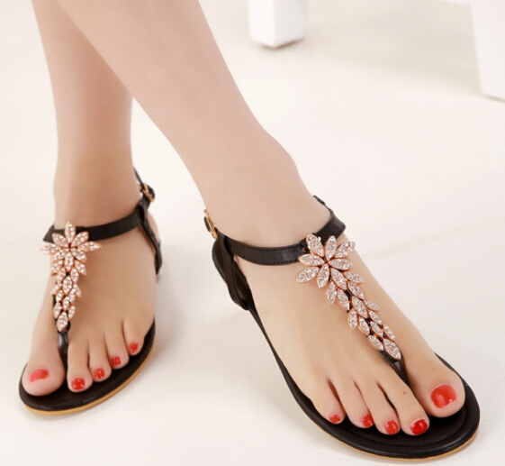 Beautiful Black Rhinestone Design Beaded Flat Sandals On ...