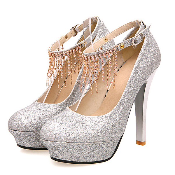 Stiletto High Heels Silver PU Party Ankle Strap Pumps on Luulla
