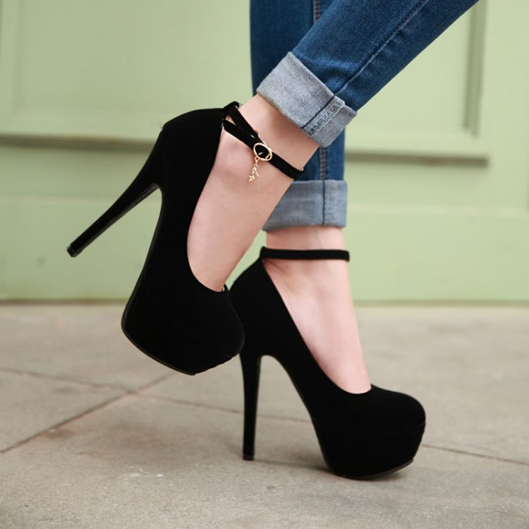 Fashion Round Toe Stiletto Heels Ankle Strap Black Pumps