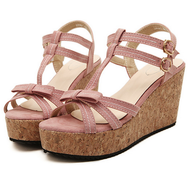 Pretty Strappy Bow Design Fashion Wedges in 3 Colors