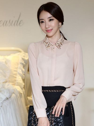 Gorgeous Pearl Beaded Long Sleeve Blouse
