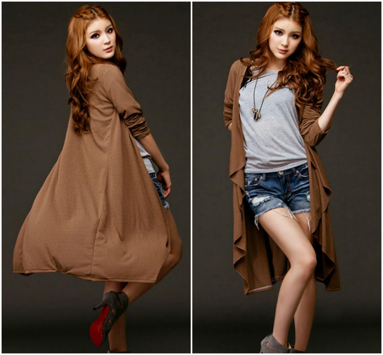 Casual Coffee Colored Long Sleeve Cotton Cardigan