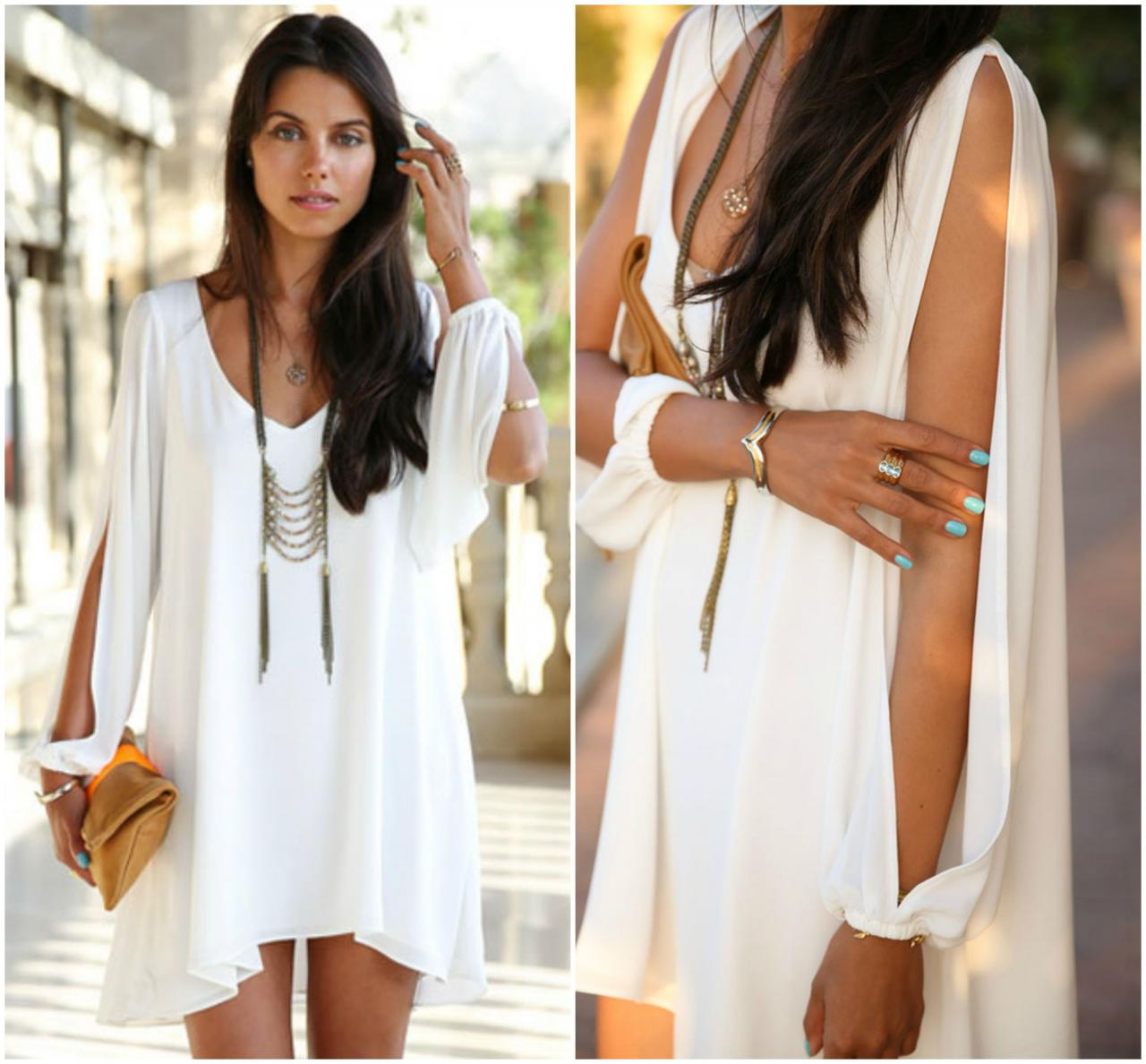 Beautiful White Bohemian Design High Low Long Sleeve Chiffon Dress