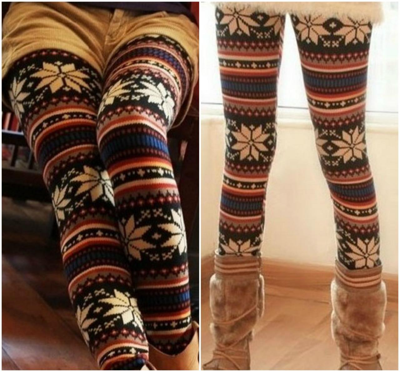 Cute Printed Warm Leggings for Autumn and Winter