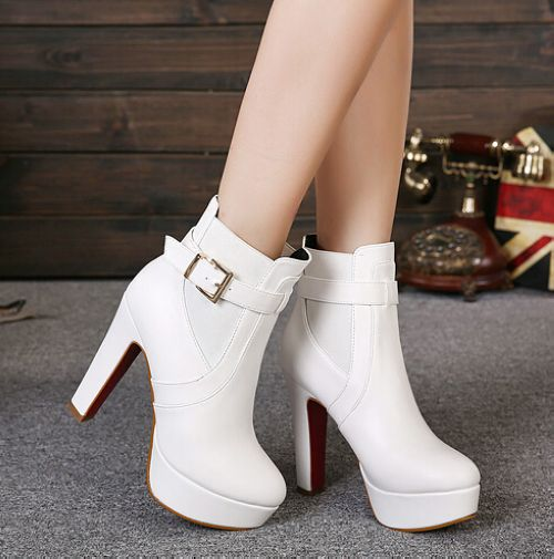 Classy White Buckle Design High Heel Winter Boots on Luulla