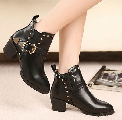 Black Buckle Design Ankle Boots Featuring Rivets Detailing