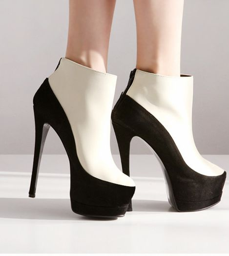 Gorgeous Black And White High Heels Fashion Boots on Luulla