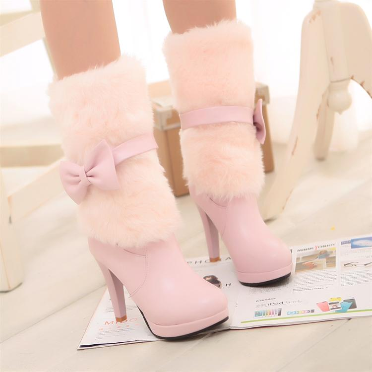 Simply Adorable Pastel Pink Bow Knot High Heel Winter Boots on Luulla