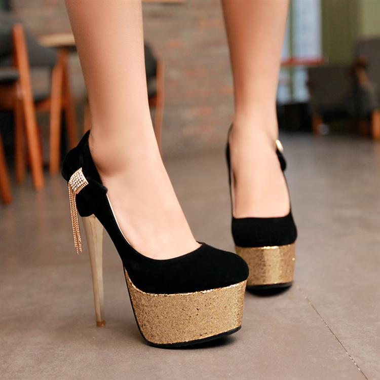 Classy Black And Gold Stiletto High Heels on Luulla
