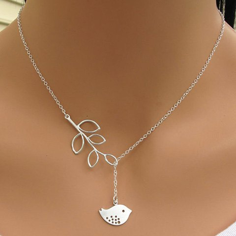 Cute Leaf and Bird Charmed Silver Necklace
