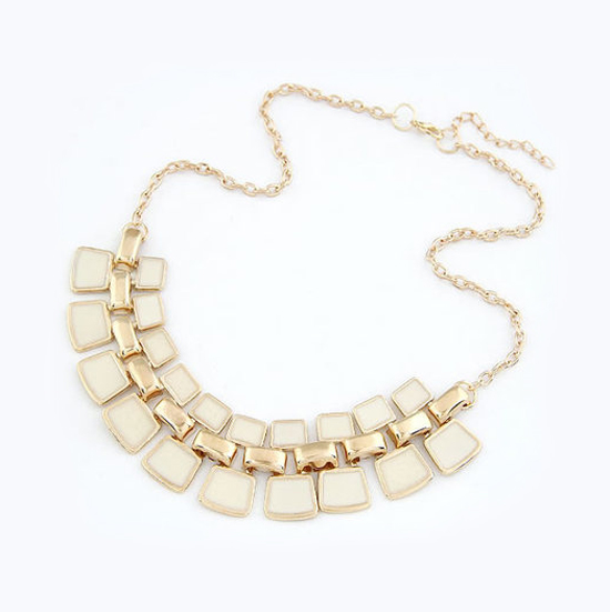 Classy Metallic Gold Geometric Pattern Statement Necklace