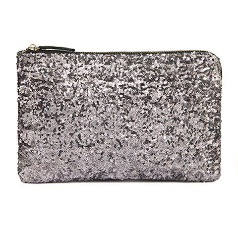 Silver Sequined Wristlet Clutch with Zipper Closure