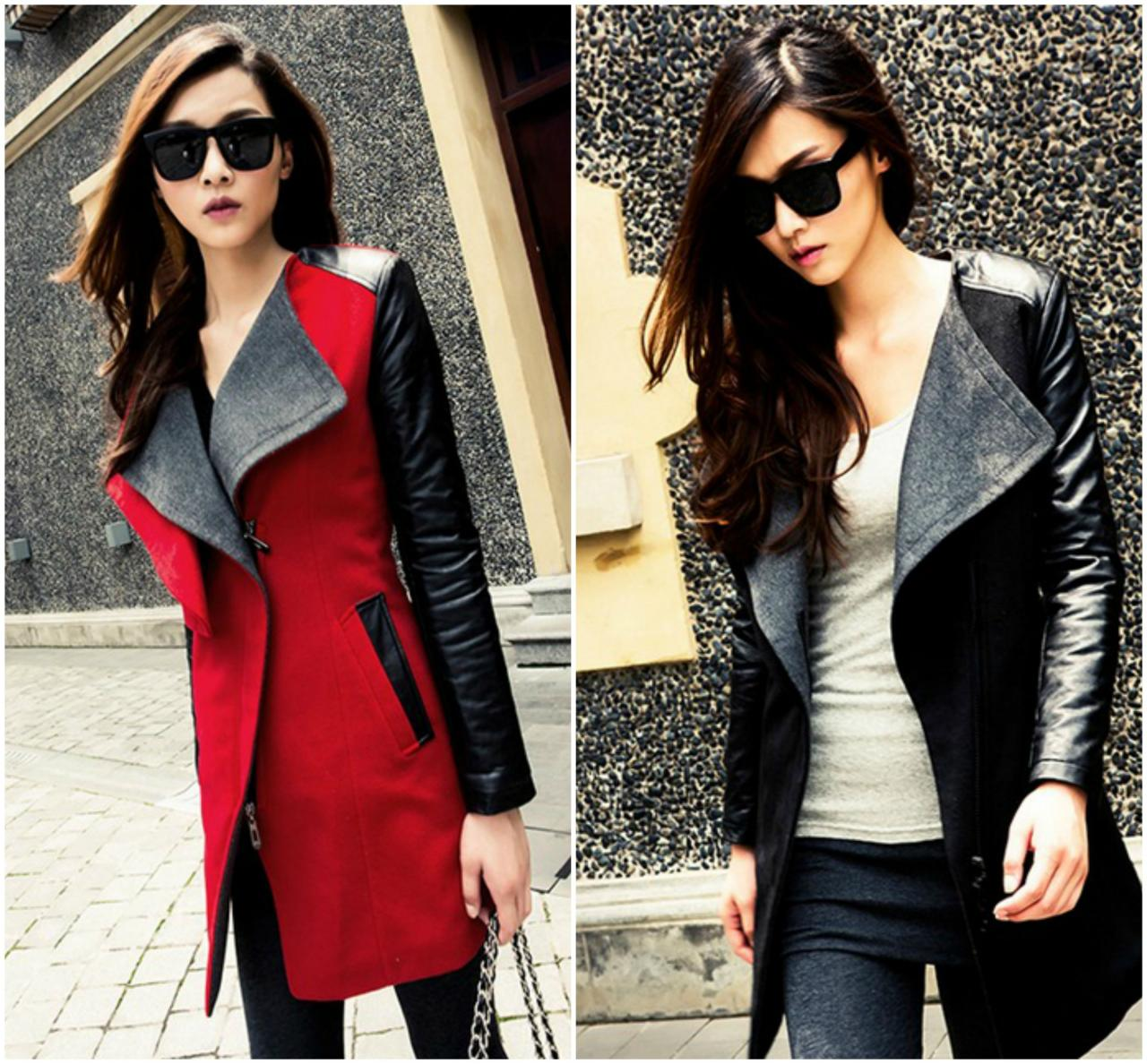 Chic Turn down Collar Patchwork PU Winter Coat