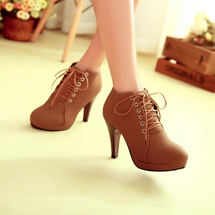 Brown Lace Up High Heels Ankle Boots On Luulla