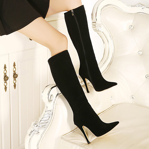 2f1e3732539 Faux Suede Pointed-Toe Knee High Heel Boots Featuring Side Zipper on ...
