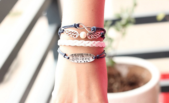 Fashion Faux Pearl and Wing Embellished Multi-Layered Strand Bracelet For Women