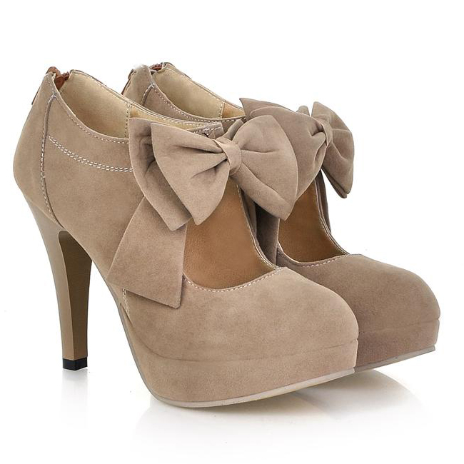 Sexy And Cute Front Bow Embellished Stiletto High Heels Light Tan ...