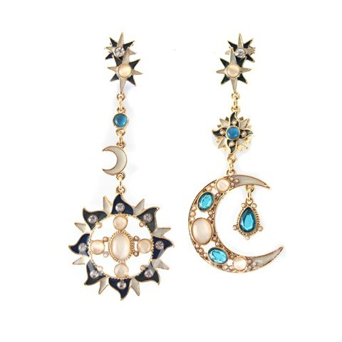 Beautiful Boho Sun and Moon Rhinestone Embellished Earrings
