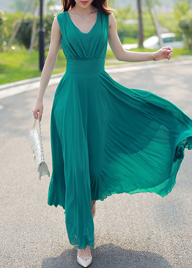 Bohemian V Neck Green Chiffon Maxi Dress