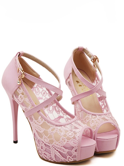 Cross Strap Pink Lace Design Peep toe Shoes