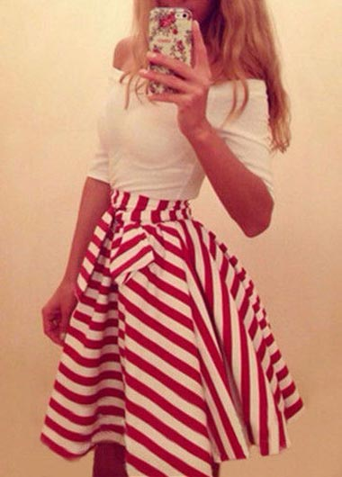 Off Shoulder Red and White Striped A Line Dress