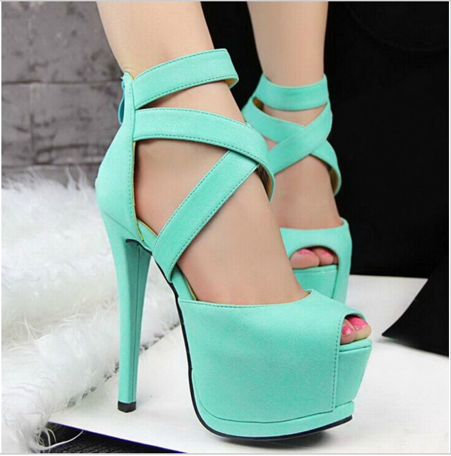 Sexy Peep Toe Cross Strap Sandals