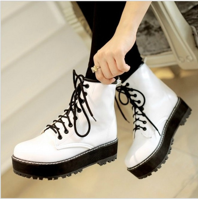 Lace up Ankle Boots in White, Black and Red