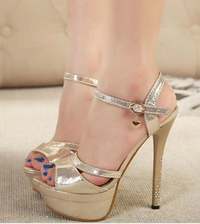 Sexy Peep toe Ankle Strap Sandals in Silver and Gold