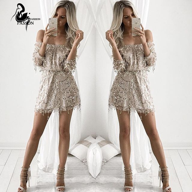 Sexy Off Shoulder Sequins Party Dress