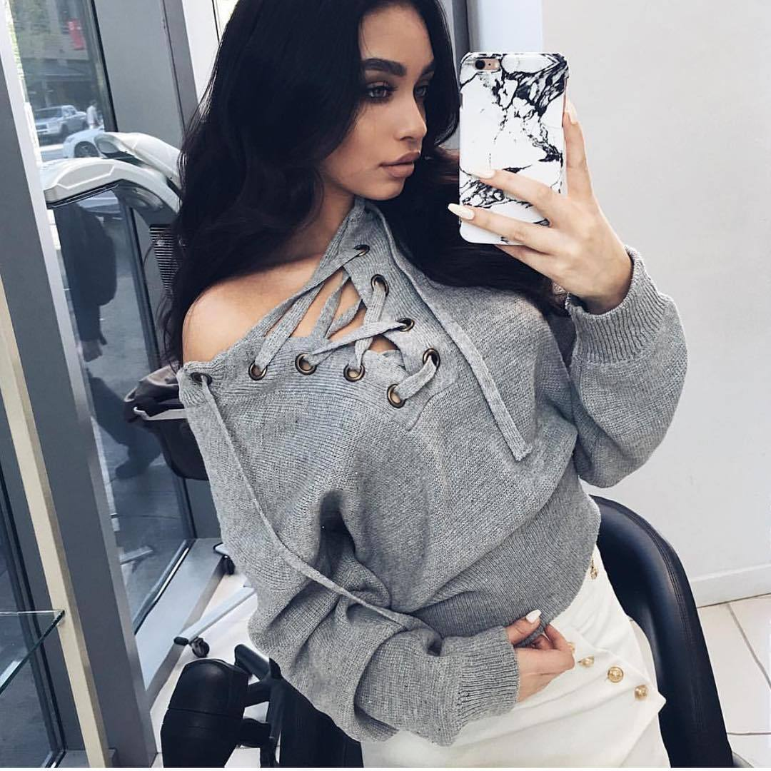 Lace up Winter Sweatshirt Hoodie