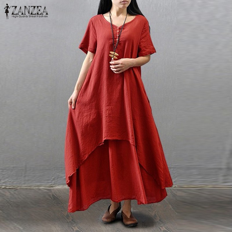 Short Sleeve Casual Cotton Boho Maxi Dress