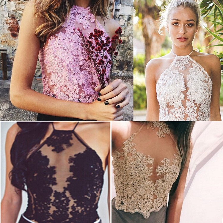Lace Tops in Pink,Gold,White and Black