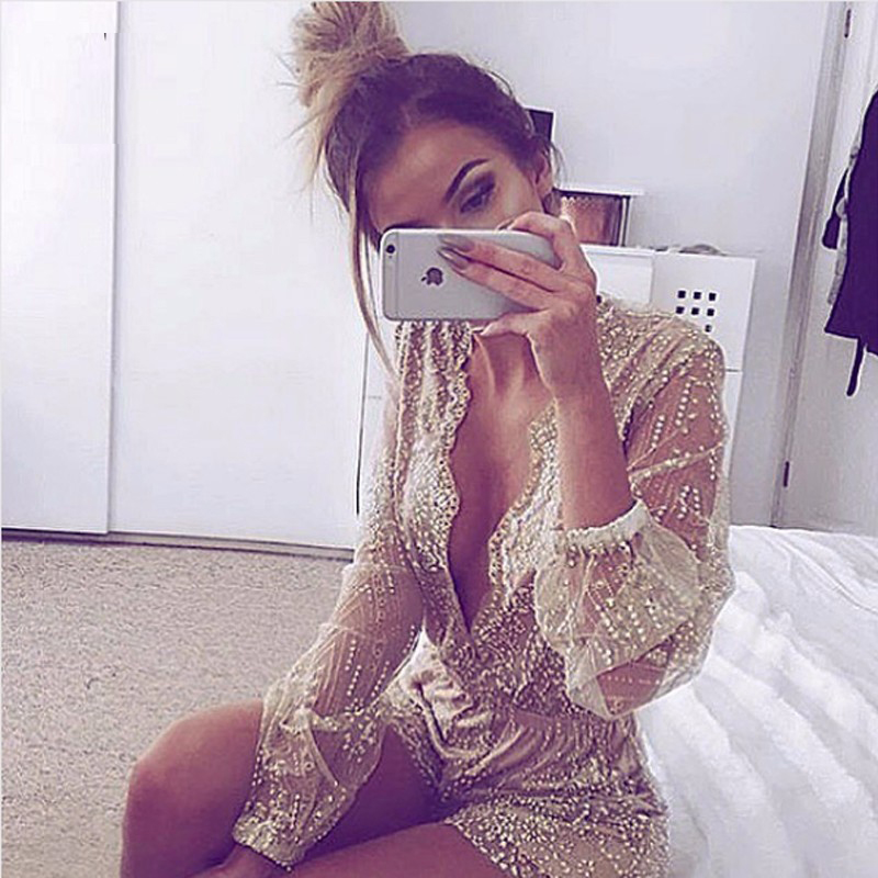 Gorgeous Gold Lace V Neck Long Sleeve Romper