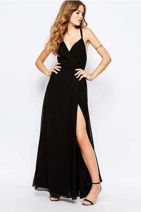 Sexy Summer black Chiffon Cross Back Long Dress