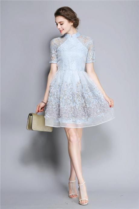 Elegant Lace Floral Ball Gown Party Dress