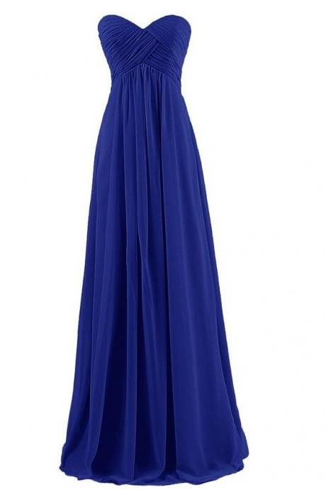 Off Shoulder Strapless Goddess Chiffon Long Dress in Navy Blue and Grey