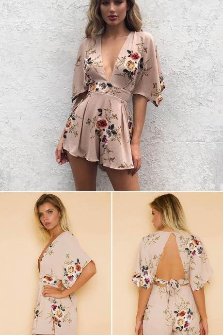Deep V Neck Boho Floral Print Women Playsuit Short Sleeve Backless Rompers