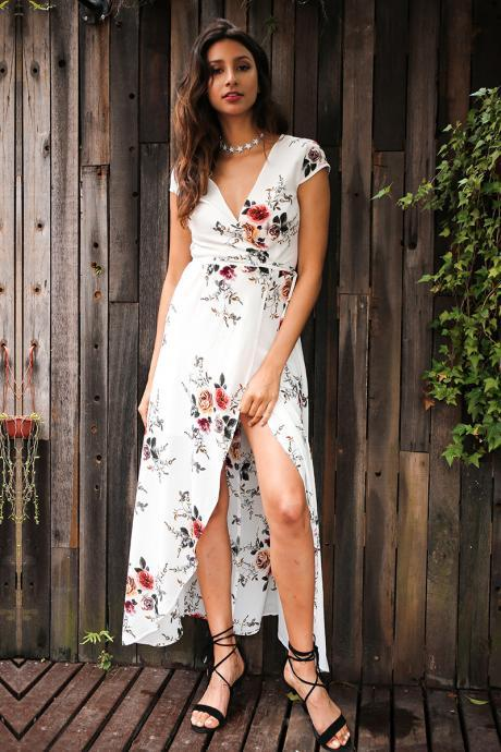 White Floral Print Plunge V Short Sleeved Wrap Maxi Dress Featuring High Slit
