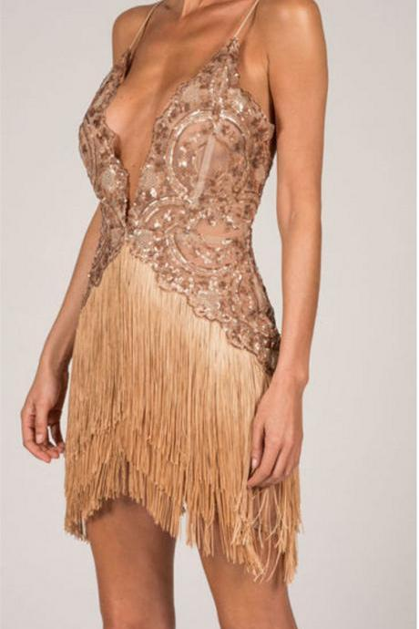 Gold Spaghetti Strap Sequin Party Dress
