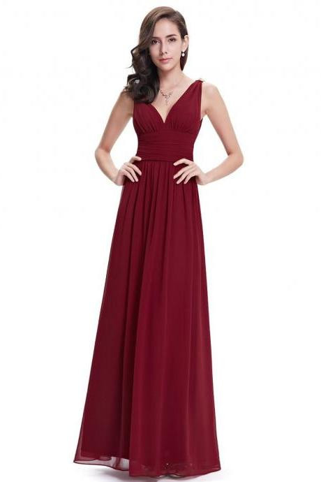 Elegant Backless Wine Red Long Chiffon Dress