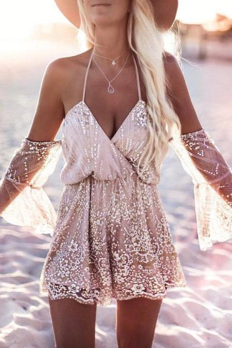 Sexy Off the Shoulder Lace and Chiffon Romper